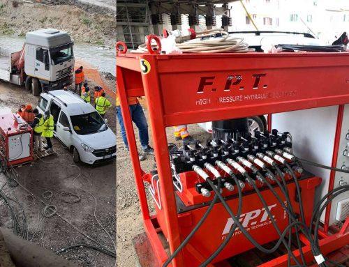 Sistema di sollevamento sincrono FPT per sollevare e ruotare 1200 tonnellate di viadotto